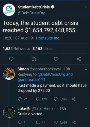 Just Made: StudentDebtCrisis  CRISIS  @DebtCrisisOrg  Today, the student debt crisis  reached $1,654,792,448,855  18:20 07 Aug 19 Hootsuite Inc.  1,684 Retweets 3,163 Likes  Simon @gopherhockeysi 19h  Replying to @DebtCrisisOrg and  @andreafan111  Just made a payment, so it should have  dropped by 275.00  t 173  22  3,875  @LukeHinckle 18h  Luke  Crisis diverted  ti 41  7  2,668