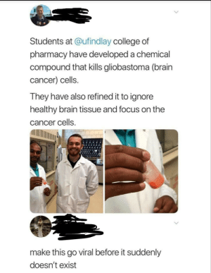 We did it, boys via /r/wholesomememes https://ift.tt/2Z1Yrc4: Students at @ufindlay college of  pharmacy have developed a chemical  compound that kills gliobastoma (brain  cancer) cells.  They have also refined it to ignore  healthy brain tissue and focus on the  cancer cells.  make this go viral before it suddenly  doesn't exist We did it, boys via /r/wholesomememes https://ift.tt/2Z1Yrc4