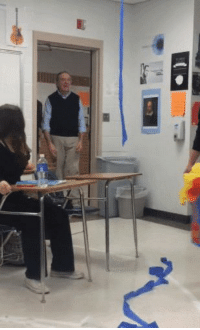 Birthday, Teacher, and For: Students give their teacher a surprise for his birthday