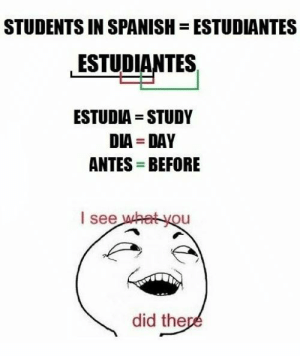 dia: STUDENTS IN SPANISH  ESTUDIANTES  ESTUDIANTES  ESTUDIA STUDY  DIA DAY  ANTES BEFORE  I see what you  did there
