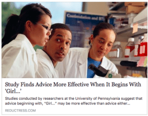 """Advice, Pennsylvania, and Com: Study Finds Advice More Effective When It Begins With  Studies conducted by researchers at the University of Pennsylvania suggest that  advice beginning with, """"Gir."""" may be more effective than advice either...  REDUCTRESS.COM"""