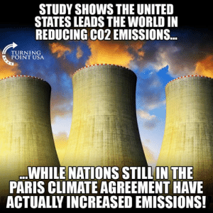 Hmm... 🤔🤔🤔: STUDY SHOWS THE UNITED  STATES LEADS THE WORLD IN  REDUCING CO2 EMISSIONS...  TURNING  POINT USA  WHILE NATIONS STILLIN THE  PARIS CLIMATE AGREEMENT HAVE  ACTUALLY INCREASED EMISSIONS! Hmm... 🤔🤔🤔