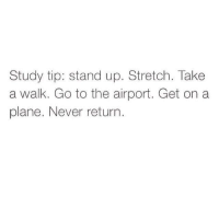 Never, Plane, and Stretch: Study tip: stand up. Stretch. Take  a walk. Go to the airport. Get on a  plane. Never return.