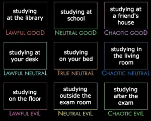 infosession:  neymrjr: exam season is coming up, tag ur preference  coffee shop? :/ : studying  at the library  studying at  school  studying at  a friend's  house  LAWFUL GOOD  NEUTRAL GOOD  CHAOTIC GOOD  studying at  your desk  studying  on your bed  studying in  the living  room  LAWFUL NEUTRAL  TRUE NEUTRAL  CHAOTIC NEUTRAL  studying  on the floor  studying  outside the  exam room  studying  after the  exam  LAWFUL EVIL  NEUTRAL EVIL  CHAOTIC EVIL infosession:  neymrjr: exam season is coming up, tag ur preference  coffee shop? :/
