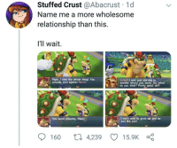 Saw, Mario, and Good: Stuffed Crust @Abacrust 1d  Name me a more wholesome  relationship than this  I'll wait.  Papa, I saw the whole thing! You  actually won against Mario!  Junior! I was just starting to  wonder where you were. So, what  do you think? Pretty good, eh?  You were amazing. Papa!  can't wait to grow up and be  just like you!  160 ti 4,239 15.9K Wholesome Father-Son relationship
