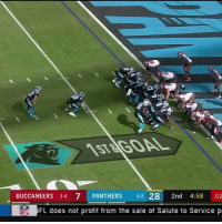 Football, Nfl, and Sports: STUGOAL  BUCCANEERS 3-4 7 PANTHERS 5-2 28 2nd 4:58 02  FL does not profit from the sale of Salute to Service  NFL This pretty much sums up the Bucs-Panthers game 😂 https://t.co/CJhX0ETyNZ