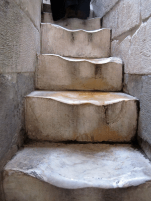 stunningpicture:  500 years of walking up the marble stairs of The Leaning Tower of Pisa. : stunningpicture:  500 years of walking up the marble stairs of The Leaning Tower of Pisa.