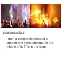 heaven and hell: stunningpicture  took a panoramic photo at a  concert and lights changed in the  middle of it. This is the result heaven and hell