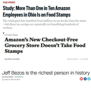 mckitterick: …just three random headlines: SUB-PRIME  Study: More Than 0ne in Ten Amazon  Employees in Ohio Is on Food Stamps  The retail giant has benefited from millions in tax breaks from the states  but those tax savings are reportedly not benefitting hundreds of  workers.  FUTURE TENSE  Amazon's New Checkout-Free  Grocery Store Doesn't Take Food  Stamps  JAN 22, 2018  By APRIL GLASER  12:27 PM  Jeff Bezos is the richest person in history  by Chris Isidore@CNNTech  f  Jarmuary 9,2018 833 AM ET mckitterick: …just three random headlines