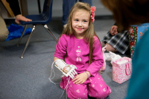 "School, Tumblr, and Blog: submit-your-nail-art:    A high school robotics team used a 3D printer to build a functional robotic hand they then gave to a 4-year-old born without fingers. ""I'm going to paint the nails pink,"" she said."