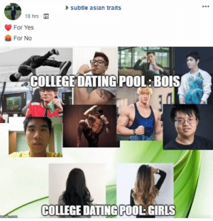 Asian, College, and Dating: subtle asian traits  18hrs  For Yes  COLLEGEDATING POOL:BOIS  COLLEGE DATING POOL: GIRLS forfuruba:  i nearly choked when i saw jjonak on my newsfeed  What