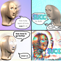 Dude, Meme, and Irony: SUCC  how many  layers of irony  was I on  my dude  this was meme man in the past  itsw time to  go further  SUCK  observe