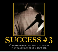 Success #3: SUCCESS #3  CONGRATULATIONS YOU MADE IT TO THE TOP  Now ALL You HAVE TO DO IS STAY THERE. Success #3