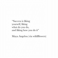"""Maya Angelou, Success, and How: """"Success is liking  ourself, liking  what do you do,  and liking how you do it  Maya Angelou (via wildfflowers)"""