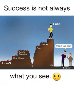 Family, Pressure, and Failure: Success is not always  I can  Failure  This is too easy  Fear  Family  Pressure  Heartbreak  I can't  SaA  Society  what you see success is now always what you see.
