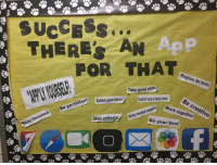 Work, Best, and Good: SUCCESS  THERES AN  ..  ApP  POR THAT  Prepare for tests  Take good note  sten  Exhibit good behavin  Complete work in timely manner  Be creative  Be persistent  Work together  Show enthusiaBring  Bring needed supplie  Do your besť  Stay focused