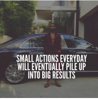 Goals, Memes, and Bigsean: SUCCESSDIARIES  SMALL ACTIONS EVERYDAY  WILL EVENTUALLY PILE UP  INTO BIG RESULTS Inspired by my buddy @mindsetofgreatness - Keep taking action no matter how big or small everyday toward your goals. Eventually the compound effect will happen and your actions will turn in major results. - Photo: @bigsean