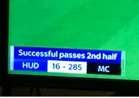 Even in Fifa this is not possible https://t.co/n2bBfz3Y2h: Successful passes 2nd half  HUD  D 16 - 285  MC Even in Fifa this is not possible https://t.co/n2bBfz3Y2h