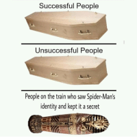 Heaven, Saw, and Spider: Successful People  Unsuccessful People  People on the train who saw Spider-Man's  identity and kept it a secret They deserve the heaven
