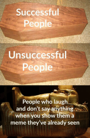 The real heroes.: Successful  People  Unsuccessful  People  People who laugh  and don't say anything  when you show them a  meme they've already seen The real heroes.