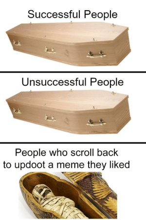 Dank, Meme, and Memes: Successful People  Unsuccessful People  People who scroll back  to updoot a meme they liked True spookesters by Virginsexoffender MORE MEMES