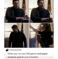 Yay 😂: suckmywinchester  When you win your first game rock paper  scissors against your lil brother. Yay 😂