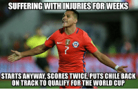 Soccer, World Cup, and Warriors: SUFFERING WITHINJURIES FOR WEEKS  STARTS ANYWAY SCORESTWICE PUTS CHILE BACK  ON TRACK TO QUALIFY FORTHE WORLD CUP And he's two goals from becoming Chile's all time top goal scorer. Alexis Sanchez is a warrior.