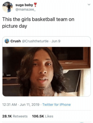 suga: suga baby  @mamazee_  This the girls basketball team on  picture day  Crush @Crushtheturtle Jun 9  12:31 AM · Jun 11, 2019 · Twitter for iPhone  28.1K Retweets  106.5K Likes