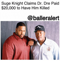 "Suge Knight Claims Dr. Dre Paid $20,000 to Have Him Killed - blogged by @MsJennyb ⠀⠀⠀⠀⠀⠀⠀ ⠀⠀⠀⠀⠀⠀⠀ Back in 2016, SugeKnight filed a suit against co-founder of Death Row Records, DrDre, accusing him of hiring a hit man to take him out a few years prior. At the time of the alleged murder for hire plot, Dre had just secured the billion dollar Beats By Dre x Apple deal. However, Knight claims he had a lifetime contract with Dre, which supposedly forced the music producer to cough up $300 million of the deal. In an attempt to skip out on the payment, Knight claimed Dre ordered a $50,000 hit on him, which resulted in the 2014 1Oak shooting of Knight. ⠀⠀⠀⠀⠀⠀⠀ ⠀⠀⠀⠀⠀⠀⠀ Now one year later, Knight is back with similar claims against the superstar record producer. This time, Knight claims Dre paid $20,000 to have him killed. ⠀⠀⠀⠀⠀⠀⠀ ⠀⠀⠀⠀⠀⠀⠀ In legal docs obtained by TMZ, Knight claims he was shown a check back in July of 2016 that was made out to a man named Dwayne Johnson. He says the check was made out by Dr. Dre to have Knight killed, the same day the music exec fatally ran over Terry Carter at Tam's. ⠀⠀⠀⠀⠀⠀⠀ ⠀⠀⠀⠀⠀⠀⠀ Knight claims Johnson also told him and a private investigator that the $20,000 check was partial payment for ""Dwayne Johnson to participate in my murder,"" the documents state. However, according to TMZ, Knight's allegations may be a ploy to get himself off the hook, as he claims he had reason to fear for his life when he entered Tam's parking lot. ⠀⠀⠀⠀⠀⠀⠀ ⠀⠀⠀⠀⠀⠀⠀ As a result, Knight asked a judge to check Dre's financial records to prove he paid for the hit, however, the judge denied the motion.: Suge Knight Claims Dr. Dre Paid  $20,000 to Have Him Killed  @balleralert Suge Knight Claims Dr. Dre Paid $20,000 to Have Him Killed - blogged by @MsJennyb ⠀⠀⠀⠀⠀⠀⠀ ⠀⠀⠀⠀⠀⠀⠀ Back in 2016, SugeKnight filed a suit against co-founder of Death Row Records, DrDre, accusing him of hiring a hit man to take him out a few years prior. At the time of the alleged murder for hire plot, Dre had just secured the billion dollar Beats By Dre x Apple deal. However, Knight claims he had a lifetime contract with Dre, which supposedly forced the music producer to cough up $300 million of the deal. In an attempt to skip out on the payment, Knight claimed Dre ordered a $50,000 hit on him, which resulted in the 2014 1Oak shooting of Knight. ⠀⠀⠀⠀⠀⠀⠀ ⠀⠀⠀⠀⠀⠀⠀ Now one year later, Knight is back with similar claims against the superstar record producer. This time, Knight claims Dre paid $20,000 to have him killed. ⠀⠀⠀⠀⠀⠀⠀ ⠀⠀⠀⠀⠀⠀⠀ In legal docs obtained by TMZ, Knight claims he was shown a check back in July of 2016 that was made out to a man named Dwayne Johnson. He says the check was made out by Dr. Dre to have Knight killed, the same day the music exec fatally ran over Terry Carter at Tam's. ⠀⠀⠀⠀⠀⠀⠀ ⠀⠀⠀⠀⠀⠀⠀ Knight claims Johnson also told him and a private investigator that the $20,000 check was partial payment for ""Dwayne Johnson to participate in my murder,"" the documents state. However, according to TMZ, Knight's allegations may be a ploy to get himself off the hook, as he claims he had reason to fear for his life when he entered Tam's parking lot. ⠀⠀⠀⠀⠀⠀⠀ ⠀⠀⠀⠀⠀⠀⠀ As a result, Knight asked a judge to check Dre's financial records to prove he paid for the hit, however, the judge denied the motion."