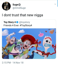 No new friends: SugeV  @22ndSuge  I dont trust that new nigga  Toy Story 4 @toystory  Friends 4 Ever. #ToyStory4  2:15 PM 14 Nov 18 No new friends
