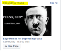 "SUGGESTED PAGES  RANK, BRO""  Adolf Hitler, 1945  Edgy Memes For Depressing Fucks  Community 15,860 likes  Like Page  See All me irl"