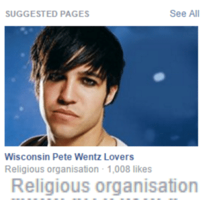 wentzilla:  is this a cult : SUGGESTED PAGES  See All  Wisconsin Pete Wentz Lovers  Religious organisation 1,008 likes   Religious organisation wentzilla:  is this a cult