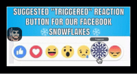 "(MF)  2017 suggestions #Triggered  #Snowflakes #GrowUp: SUGGESTED ""TRIGGERED REACTION  BUTTON FOR OUR FACEBOOK  SNOW FLAKES  Triggered (MF)  2017 suggestions #Triggered  #Snowflakes #GrowUp"