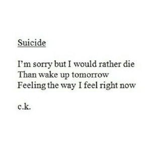 Feel Right: Suicide  I'm sorry but I would rather die  Than wake up tomorrow  Feeling the way I feel right now  c.k.
