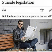 Crime, Suicide, and World: Suicide legislation  Suicide is a crime in some parts of the world.1  @wobewildin  Looks like ilm ab  oout to greas the law <p>-h</p>