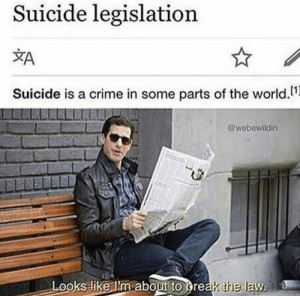 Crime, Suicide, and World: Suicide legislation  Suicide is a crime in some parts of the world.1  @wobewildin  Looks like ilm ab  oout to greas the law