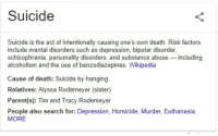 me_irl: Suicide  Suicide is the act of intentionally causing one's own death. Risk factors  include mental disorders such as depression, bipolar disorder  schizophrenia, personality disorders, and substance abuse including  alcoholism and the use of benzodiazepines. Wikipedia  Cause of death: Suicide by hanging  Relatives: Alyssa Rodemeyer (sister)  Parent(s): Tim and Tracy Rodemeyer  People also search for: Depression, Homicide, Murder, Euthanasia  MORE me_irl