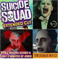 "You had TWO chances at this @warnerbrosentertainment... Now you've left me in a black hole of rage and confusion. Barely two additional minutes of additional Joker footage that are STILL cut short, DESPITE being in the friggin TRAILERS?! No hand grenade scene. No slapping scene. And not even the ""I can't wait to show you my toys"" line. The new footage you did give us of the DCEU's Joker is okay.. but I honestly feel like Jared was just trying too hard to be quirky. Too many awkward purrs, growls, and slack-jawwed eye rolls for my liking... This may have been one of those rare instances where less is more. What'd you guys think of the Suicide Squad ""extended"" cut?@jaredleto must be somewhere livid right now.. 🙄 -- joker harleyquinn suicidesquad relationshipproblems penguin batman gotham dc dccomics dcnation dcuniverse batman wonderwoman batmanvsuperman dawnofjustice superman deadshot brucewayne gotham nightwing jaredleto margotrobbie dcrebirth new52 blerd theflash thedarkknight justiceleague birdsofprey madlove jokerandharley: SUICIDE  XX  EXTENDED CUT  STILL MISSING SCENES &  ONLY 2 MINUTES OF JOKER You had TWO chances at this @warnerbrosentertainment... Now you've left me in a black hole of rage and confusion. Barely two additional minutes of additional Joker footage that are STILL cut short, DESPITE being in the friggin TRAILERS?! No hand grenade scene. No slapping scene. And not even the ""I can't wait to show you my toys"" line. The new footage you did give us of the DCEU's Joker is okay.. but I honestly feel like Jared was just trying too hard to be quirky. Too many awkward purrs, growls, and slack-jawwed eye rolls for my liking... This may have been one of those rare instances where less is more. What'd you guys think of the Suicide Squad ""extended"" cut?@jaredleto must be somewhere livid right now.. 🙄 -- joker harleyquinn suicidesquad relationshipproblems penguin batman gotham dc dccomics dcnation dcuniverse batman wonderwoman batmanvsuperman dawnofjustice superman deadshot brucewayne gotham nightwing jaredleto margotrobbie dcrebirth new52 blerd theflash thedarkknight justiceleague birdsofprey madlove jokerandharley"
