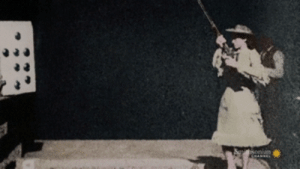 "flicker-serthes:  sebastianmichaelisthedevilwithin:   wortlby2:  germanamericanslavic: Colorized footage of the legendary Annie Oakley speed shooting with her Winchester rifle, November 1, 1894  ""When a man hits a target, they call  him a marksman. When I hit a target, they call it a trick. Never did  like that much."" - Annie Oakley     Idk who Annie Oakley is, but she's so cool!    Annie Oakley was. BEAST of a marksman.  When she was fifteen, she went head-to-head in a shooting contest with a prize of $100, against a travelling exhibition marksman (Frank Butler). She beat him handily, and won the $100 (equivalent to over $2000 today). Please note that it was a shot-for-shot match, and he lost on the TWENTY-FIFTH clay pigeon (so it was a moving target, too). Twenty-five shots in a row, Annie hit them ALL.  This, understandably, resulted in Frank, who drank his respect women juice, to be like ""Wow that is super hot and I'm in love."" They ended up getting married pretty soon after that, but didn't have any kids (but IMAGINE IF THEY DID. A FAMILY OF SHARPSHOOTERS).  Some of her ""trick"" shooting (in other words, absolute badass nearly impossible shots given the sights on guns at the time and such) included:  Splitting a playing card clean in half from thirty paces while it was place on its edge.  Taking off the burning end of a cigarette placed in her husband's mouth, from thirty+ paces.  Having someone throw a DIME into the air, and shooting it clean through.  She was lauded by Chief Sitting Bull for her marksmanship when he saw her blow out a candle with one shot, without damaging the wick or the candle itself.  Into her sixties, she continued breaking records as well as being a vocal women's rights activist. She, in her later years, shot 100 clay pigeons in a row from 15 meters.  She died in 1915, and her husband was so consumed by grief that he stopped eating and died 18 days later because he couldn't stand to be apart from her.  After her death it was discovered that her ENTIRE fortune (a tidy amount) had been secretly given to several charities, women's rights groups, and her family in the last few months of her life.  She was legendary, and received numerous titles to go along with her abilities, but my favorite is definitely Annie Oakley, Little Sureshot of the West. : Suihisonian  CHANNEL flicker-serthes:  sebastianmichaelisthedevilwithin:   wortlby2:  germanamericanslavic: Colorized footage of the legendary Annie Oakley speed shooting with her Winchester rifle, November 1, 1894  ""When a man hits a target, they call  him a marksman. When I hit a target, they call it a trick. Never did  like that much."" - Annie Oakley     Idk who Annie Oakley is, but she's so cool!    Annie Oakley was. BEAST of a marksman.  When she was fifteen, she went head-to-head in a shooting contest with a prize of $100, against a travelling exhibition marksman (Frank Butler). She beat him handily, and won the $100 (equivalent to over $2000 today). Please note that it was a shot-for-shot match, and he lost on the TWENTY-FIFTH clay pigeon (so it was a moving target, too). Twenty-five shots in a row, Annie hit them ALL.  This, understandably, resulted in Frank, who drank his respect women juice, to be like ""Wow that is super hot and I'm in love."" They ended up getting married pretty soon after that, but didn't have any kids (but IMAGINE IF THEY DID. A FAMILY OF SHARPSHOOTERS).  Some of her ""trick"" shooting (in other words, absolute badass nearly impossible shots given the sights on guns at the time and such) included:  Splitting a playing card clean in half from thirty paces while it was place on its edge.  Taking off the burning end of a cigarette placed in her husband's mouth, from thirty+ paces.  Having someone throw a DIME into the air, and shooting it clean through.  She was lauded by Chief Sitting Bull for her marksmanship when he saw her blow out a candle with one shot, without damaging the wick or the candle itself.  Into her sixties, she continued breaking records as well as being a vocal women's rights activist. She, in her later years, shot 100 clay pigeons in a row from 15 meters.  She died in 1915, and her husband was so consumed by grief that he stopped eating and died 18 days later because he couldn't stand to be apart from her.  After her death it was discovered that her ENTIRE fortune (a tidy amount) had been secretly given to several charities, women's rights groups, and her family in the last few months of her life.  She was legendary, and received numerous titles to go along with her abilities, but my favorite is definitely Annie Oakley, Little Sureshot of the West."