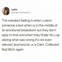 Bad, Bad Bitch, and Bitch: sukhi  @mairanotmaria2  The weirdest feeling is when u send  someone a text when ur in the middle of  an emotional breakdown but they don't  reply in time and when they finally hit u up  asking what was wrong it's not even  relevant anymore bc ur a Calm. Collected.  Bad Bitch again Truth or nah @meme.w0rld 😭