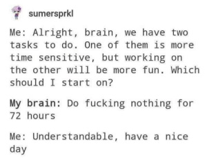 Fucking, Brain, and Time: sumersprkl  Me: Alright, brain, we have two  tasks to do. One of them is more  time sensitive, but working on  the other will be more fun. Which  should I start on?  My brain: Do fucking nothing for  72 hours  Me Understandable, have a nice  day