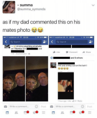 Nahhhhh 😂🤣: summa  @summa_symonds  as if my dad commented this on his  mates photo  ..ooo vodafone UK令23:20  L ( 84%-, l-.ooo vodafone UK a.. 23:20  84% .  Q Search  a search  drinking anything alcoholic  and  at Rumba with  Like Comment → Share  1 hr . Southampton .  and 9 others  Phil and shirley out on the lash !  1 hour ago Like 2. Reply  write a comment  |write a comment  Post Nahhhhh 😂🤣