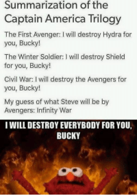 America, Soldiers, and Winter: Summarization of the  Captain America Trilogy  The First Avenger: l will destroy Hydra for  you, Bucky!  The Winter Soldier: I will destroy Shield  for you, Bucky!  Civil War: will destroy the Avengers for  you, Bucky!  My guess of what Steve will be by  Avengers: Infinity War  I WILL DESTROY EVERYBODY FOR YOU,  BUCKY ~Deadpool