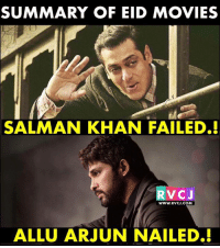 Memes, Movies, and Salman Khan: SUMMARY OF EID MOVIES  SALMAN KHAN FAILED.!  RVCJ  wWW.RVCJ.coM  ALLU ARJUN NAILED.! Summary!