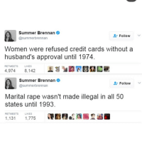 Memes, Summer, and Credit Cards: Summer Brennan  @summerbrennan  Follow  Women were refused credit cards without a  husband's approval until 1974.  RETWEETS  LIKES  4,9748,142  Summer Brennan  @summerbrennan  L-Follow  Marital rape wasn't made illegal in all 50  states until 1993  RETWEETS  LIKES  1,131 1,775
