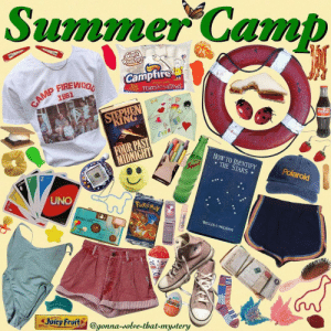 This is my idea of what summer camp is ideally like (we don't really have them in the UK), it's slightly based off the parent trap☺️ • •…: Summer Camb  Camptire  marshmallows  1981  KING  EVER  FOUR PAST  HoW TO IDENTIFY  THE STARS  Polaroid  UNO  WILLIS:l . MILHAM  Joicy Fruits @gonna-solve-that-mystery  gonna-dolve-that-mydtery This is my idea of what summer camp is ideally like (we don't really have them in the UK), it's slightly based off the parent trap☺️ • •…