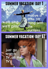 Dank, Summer, and Curtains: SUMMER VACATION: DAY 1  mabye a  lifme DIY  e'll singthingwith  well play  Curtains.  SUMMER VACATION: DAY 67  just go  watch  TV...all the  TV All the TV. (via: Ripped Jeans and Bifocals by Jill Robbins)