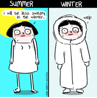 Memes, Winter, and Summer: SumMER  WINTER  I wil be less sweatu  in the winter...  welp Still sweaty (By @lorynbrantz)