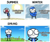 Winter, Summer, and Happy: SUMMER  WINTER  Iish twas  colder!  lwish it was  SPRING  happy I was the same too.
