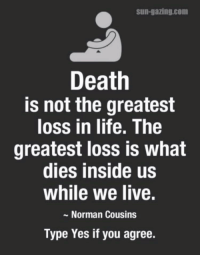 Death: Sun-gazing com  Death  is not the greatest  loss in life. The  greatest loss is what  dies inside us  while we live.  Norman Cousins  Type Yes if you agree.